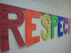 A great idea for any important inquiry based word or values, brainstorm and write on the letters to display. Letters or words with R go on the R, etc Elementary School Counseling, School Social Work, School Counselor, Elementary Schools, Career Counseling, Pbis School, School Code, Upper Elementary, Respect Lessons