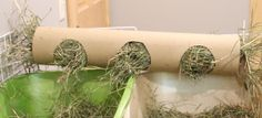 This is another homemade hay rack made from a big cardboard carpet tube. it has…