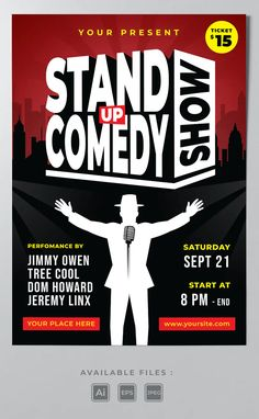 Stand Up Comedy Show Poster Template AI, EPS Stand Up Comedy Shows, Poster Templates