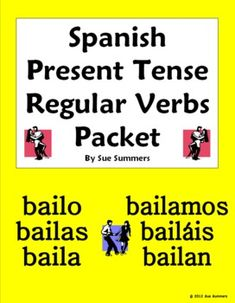 Spanish Verbs Regular Present 28 Page Bundle by Sue Summers - 10 practice worksheets, explanation of the verb conjugation process, conjugation form, and quiz.