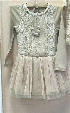 06c27f2a596d MAELI ROSE FLORAL LACE LONG SLEEVE DRESS IN BEIGE at honeypiekids.com