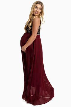 Burgundy-Pleated-Chiffon-Lace-Top-Maternity-Maxi-Dress