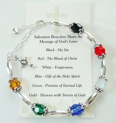 Salvation Bracelet with Swarovski & Silver Beads – Great Gift Idea This Salvation Bracelet with Swarovski & Silver Beads Great Gift is just one of the custom, handmade pieces you'll find in our beaded bracelets shops. Diy Jewelry, Beaded Jewelry, Handmade Jewelry, Jewelry Making, Beaded Bracelets, Jewlery, Making Bracelets, Diamond Jewelry, Handmade Wire