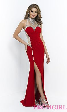 High Neck Blush Prom Dress at PromGirl.com