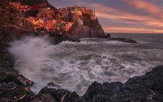 Download wallpapers Cinque Terre, Italy, sunset, Mediterranean Sea, waves, Riomaggiore Province, Spezia