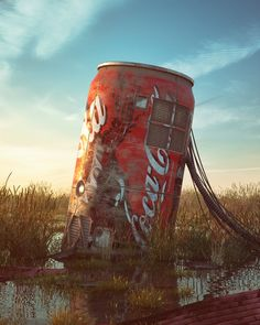 A series showing popular culture icons in realistic dystopian environments.