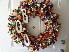 Halloween Fabric Rag Wreath. $48.00, via Etsy.