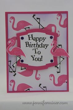 Flamingo Birthday Card. Stamps from Recollections Coastal Village Set.