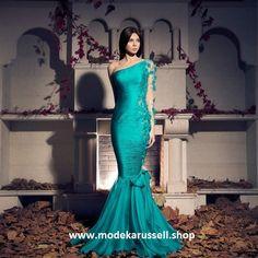Trompeten Abendkleid Stilla in Türkis Blau