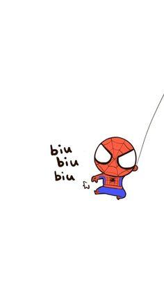 mhkitty~!★彡( ̄(工) ̄) Cute Disney Wallpaper, Kawaii Wallpaper, Wallpaper Iphone Cute, Cute Cartoon Wallpapers, Spiderman Cute, Chibi Spiderman, Marvel Drawings, Disney Drawings, Cute Drawings