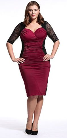 Dilanni Women Sexy Bandage Bodycon Evening Dress Plus Size Dress (Burgundy 4X) - http://www.darrenblogs.com/2016/09/dilanni-women-sexy-bandage-bodycon-evening-dress-plus-size-dress-burgundy-4x/
