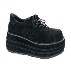 buy popular 8b7f4 db1cb Black Veggie Shoes, Mens black veggie suede shoes with a 3 inch platform.  Comes with lace up front, side stitching and stitching details on the  platform.