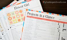 Free Printable: Quilt Project Sheets.. OMG LOVE these. Since I just went through all my projects a couple days ago this is going to keep me on track. Or at least I hope it will! :)