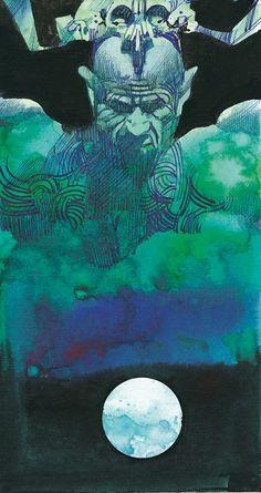 Sergio Toppi - Tarot of the Origins - 6 of Soul (= Cups) Samba, Illustrator, Le Tarot, Cup Art, Bd Comics, Italian Artist, Artist Gallery, Comic Artist, Traditional Art