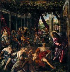 The Pool at Bathesda - Tintoretto.  1579-81.  Oil on canvas.  533 x 529 cm.  Sala Superiore, Scuola Grande di San Rocco, Venice, Italy.