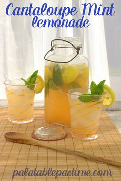 Make fresh lemonade infused with herbs and melon for your next picnic. Pineapple Lemonade, Mint Lemonade, Frozen Pineapple, Strawberry Lemonade, Flavored Lemonade, Cantaloupe Recipes, Creamy Potato Salad, Cookout Food, Non Alcoholic Drinks