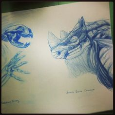 Studies for a creature design assignment with blue colored pencil by cid_aristeia via Instagram
