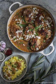 Andalusische kip stoofschotel met gele rijst
