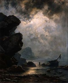 """Knud Baade, The Ship """"Fortuna""""; Fantasy Landscape, Landscape Art, Landscape Paintings, Fantasy Art, Renaissance Kunst, Moonlight Painting, Nocturne, Great Paintings, Classical Art"""