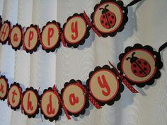 Lady Bug Birthday Banner - Black and White. $20.00, via Etsy.