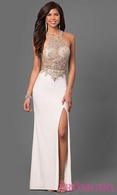 Beaded Sheer-Bodice Long Prom Dress by La Femme