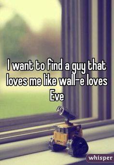 I want to find a guy that loves me like wall-e loves Eve