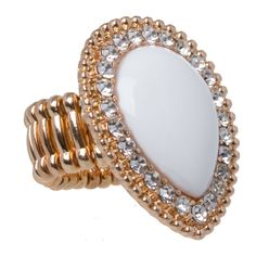 Teardrop Crystal Stretch Ring in #White - 23805 - from @colettehayman (AUD $3.00).