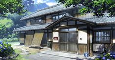 Asian Landscape, Fantasy Landscape, Stairs Background, Casa Anime, Traditional Japanese House, Sims Building, Naruto, Anime Scenery Wallpaper, House Doctor