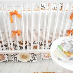 Ragamuffin in Tangerine Crib Skirt