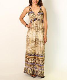 Loving this Beige Filigree Empire-Waist Maxi Dress on #zulily! #zulilyfinds