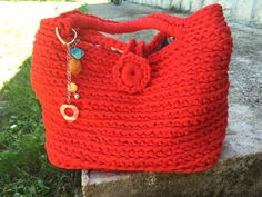 Bag crochet in cotton lined ReD my PaSSion Bagwith di JustForYouhm