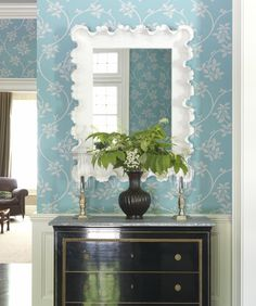 FC Tip: Make a statement in small areas by using bright wallpaper. For more designing tips, go to familycircle.com Wallpaper: Farrow & Ball's Ringwold in Turquoise