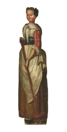A painted pine dummy board, 18th century, depicting a maid holding a broom, 157cm high 36cm wide Est £1000-1500 4th March 2014
