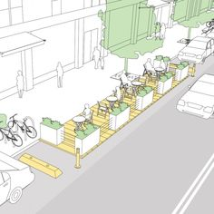 Parklets - National Association of City Transportation Officials . Parklets - National Association of City Transportation Officials . Parklets - National Association of City Transportation Officials . Urban Design Concept, Urban Design Diagram, Urban Design Plan, Plans Architecture, Landscape Architecture Design, Sustainable Architecture, Architecture Diagrams, Landscape Designs, Architecture Portfolio