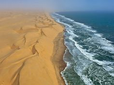 The Namib Desert in southern Africa meets the ocean (♫ ...the ocean is a desert, with its life underground, and the perfect disguise above... ♪)