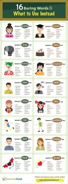 "hellolearnenglishwithantriparto: "" 16 boring words and what to use instead #learnenglish """
