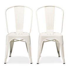 Gentil Carlisle High Back Metal Dining Chair   White (Set Of 2) : Target More