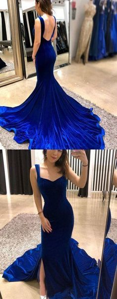 Simple blue velvet long prom dress, mermaid evening dress,Long prom dress, simple party dress,Formal - You Are Pin Evening Dress Long, Mermaid Evening Dresses, Evening Gowns, Evening Party, Blue Mermaid Prom Dress, Elegant Dresses, Pretty Dresses, Blue Dresses, Beautiful Dresses