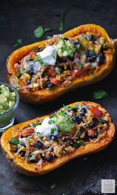 Stuffed Butternut Squash | by Life Tastes Good is a meatless meal packed full of fresh flavors inspired by Mexican cuisine. This recipe comes in a handy bowl you can eat too! #LTGrecipes #mexicanfoodrecipes