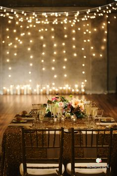 Love the gold throughout without being overwhelming - gold chiavari, La Tavola gold sequin linen, gold rimmed stemware... love it!