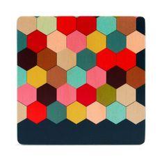 honeycomb coasters, set of four