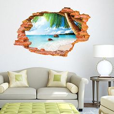 Fucool Art Creative Removable Mural 3d Wall Stickers PVC Decal for Home Decor Beach 2 * This is an Amazon Affiliate link. Click image for more details.