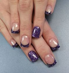 Glamorous Purple nail art design in French tips. What better way to stand out than give your purple nail polish a twist with glitter? The glitter makes the purple color shine and even the simplest nail art design eye catching.