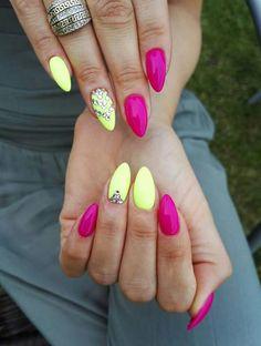 Pink yellow nails