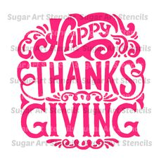 Happy Thanksgiving stencil for cookie by Sugarartstencils on Etsy