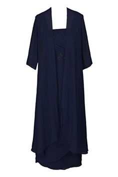 HSD Tea Length Mother of the Bride Formal Evening Dress With Jacket Navy -- You can find more details by visiting the image link.