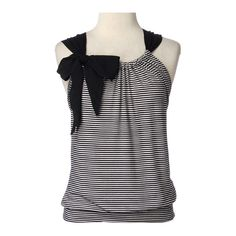 Sleeveless Stripe Front with Bow found on Polyvore