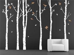 Wall stencil. Tree with birds Wall stencil. Stencil decal.Mask stencil. Birch trees on Etsy, $114.00