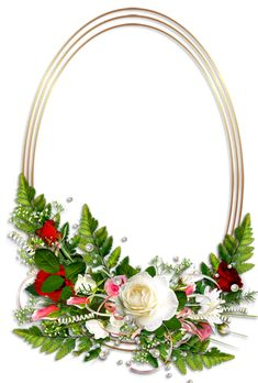 Oval Transparent Photo Frame with Flowers