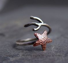Copper Starfish Coral Branch Adjustable Ring, Star ring, Starfish Ring, MADE to ORDER, Ocean Jewelry, Gifts under 40.00, Handmade                                                                                                                                                                                 Más